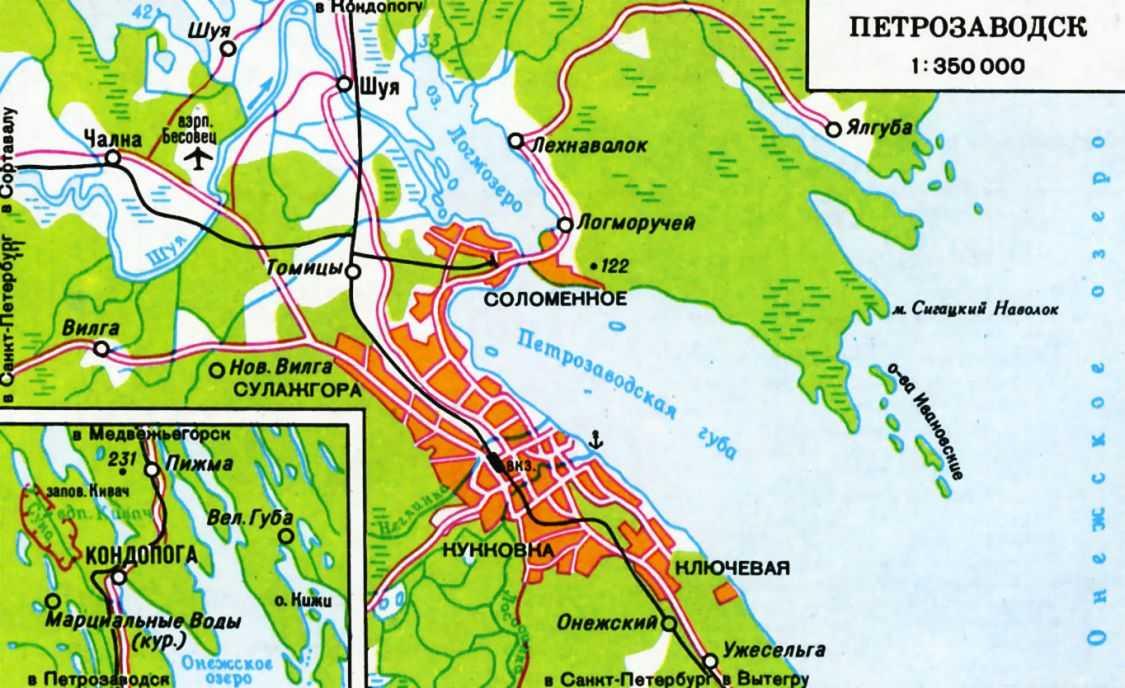 Карта Петрозаводска с улицами