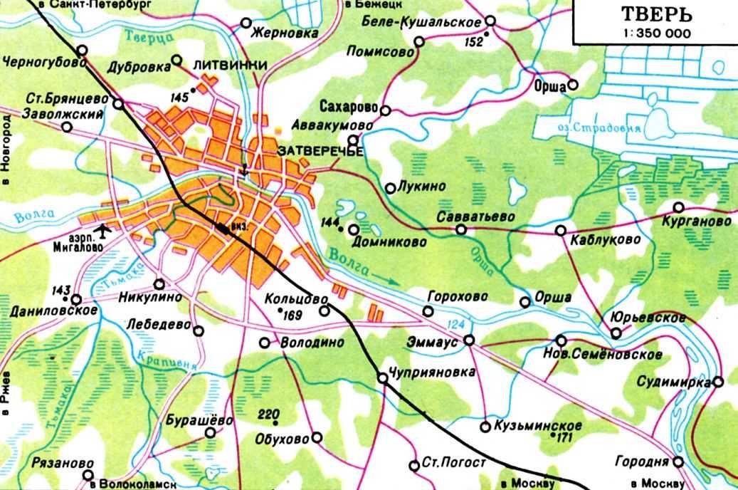 Подробная карта окрестностей Твери.