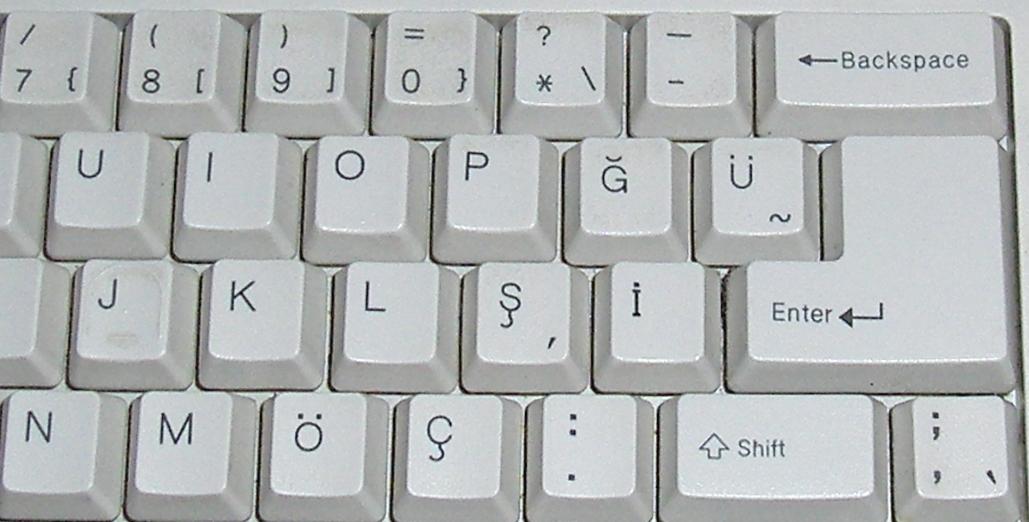 Ausschnitt einer türkischen tastaturbelegung