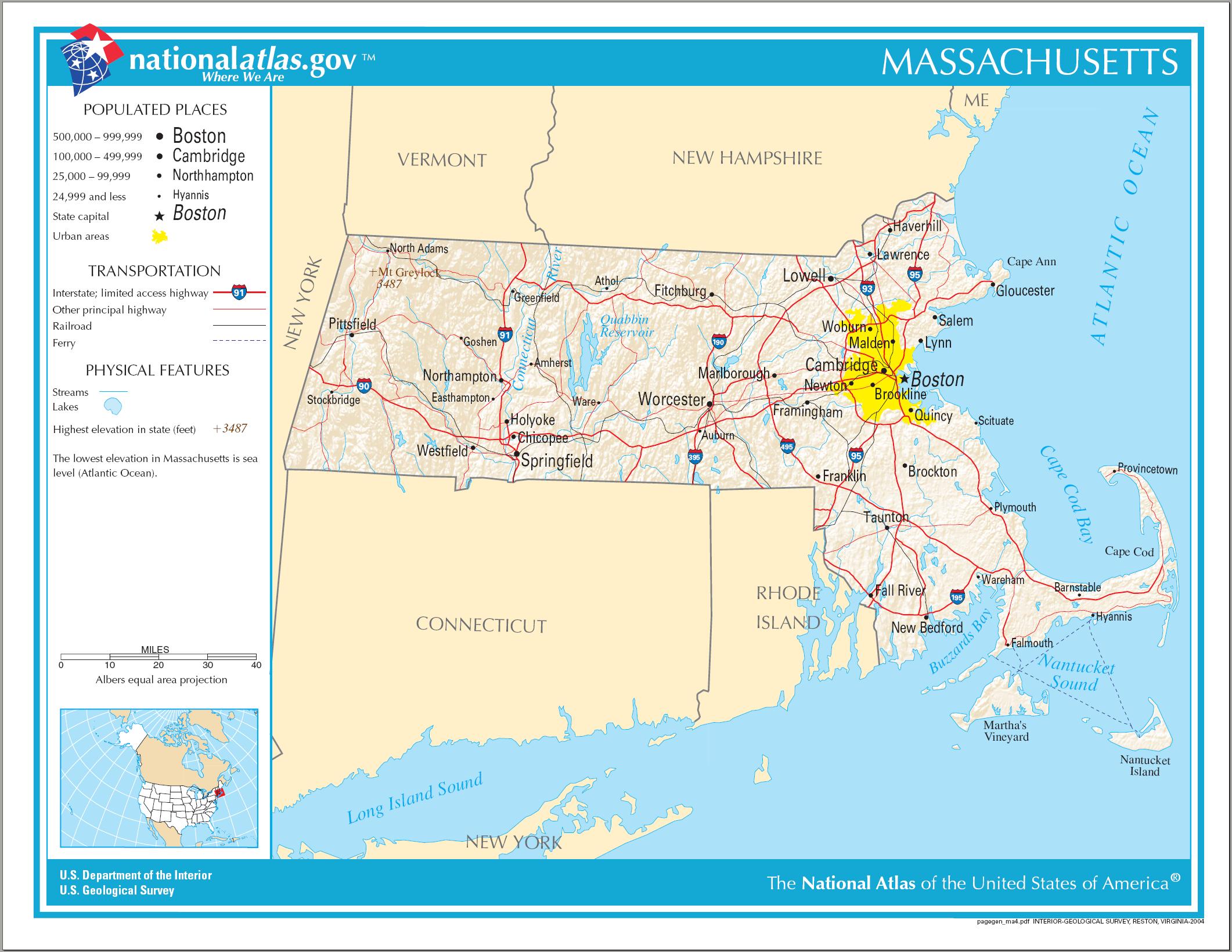 Где на карте находится бостон