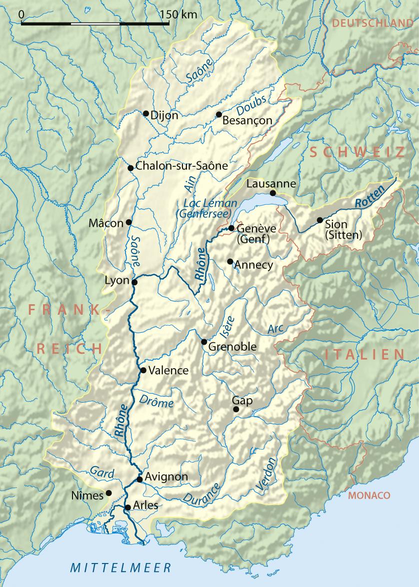 Flusslauf und einzugsgebiet
