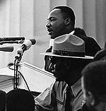 "Martin Luther King, Jr. hält seine ""I Have a Dream""-Rede beim March on Washington for Jobs and Freedom"