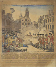 The Bloody Massacre Perpetrated in King Street Boston on March 5th, 1770. Propagandaplakat des amerikanischen Freiheitskämpfers Paul Revere