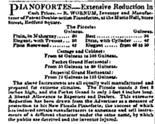 Advertisement and cash prices for Robert Wornum & Sons, piano manufacturers.jpg.png