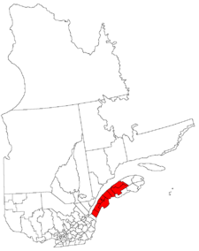 Lage der Region Bas-Saint-Laurent in Québec