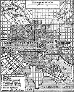 Situationsplan von Baltimore um 1888