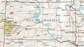 Geographische Karte South Dakotas