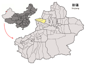 Location of Börtala Prefecture within Xinjiang (China).png