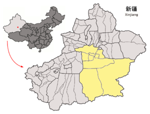 Location of Bayin'gholin Prefecture within Xinjiang (China).png