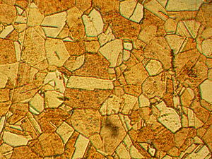 Macrostructure of rolled and annealed brass; magnification 400X.jpg