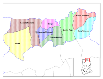 Lage des Bawku West Districts in der Upper West Region