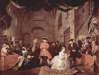 Gemälde der The Beggar's Opera, Scene V, von William Hogarth, c. 1728
