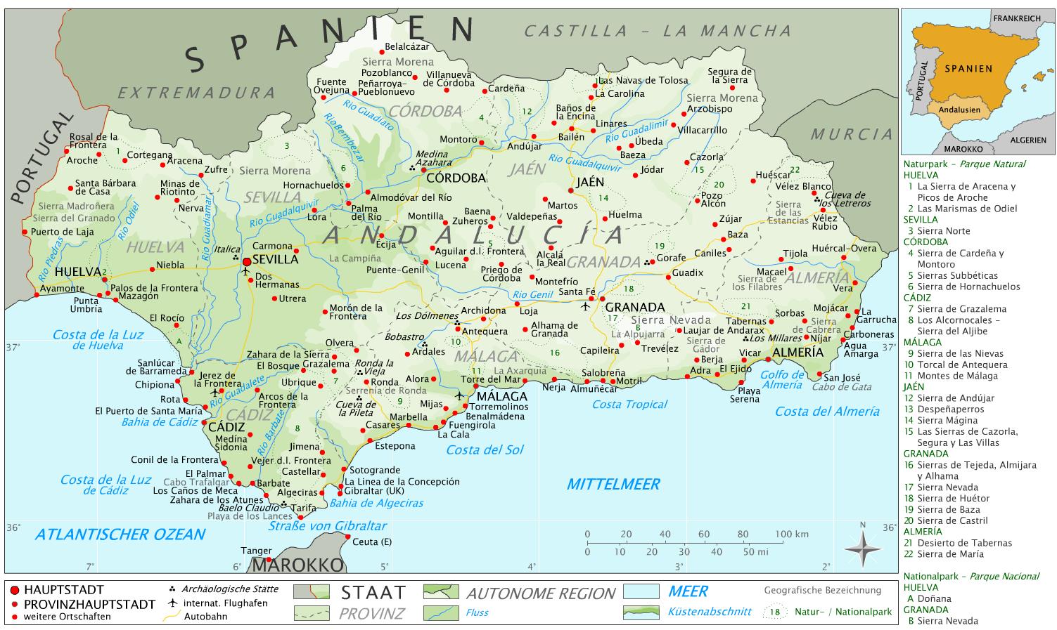 costa de la luz karte Andalusien Weltkarte