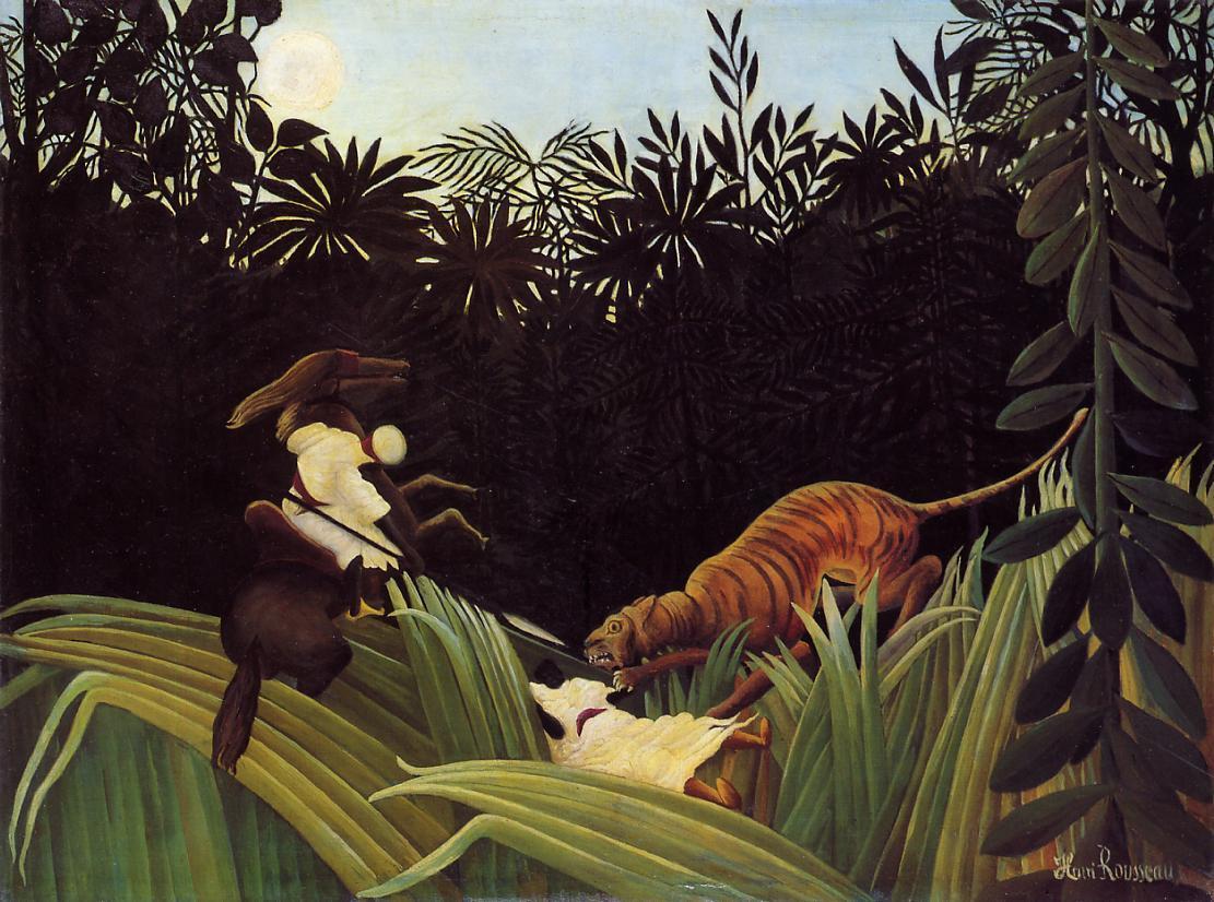 Le douanier Rousseau Henri_Rousseau_Eclaireurs_attaques_par_un_tigre