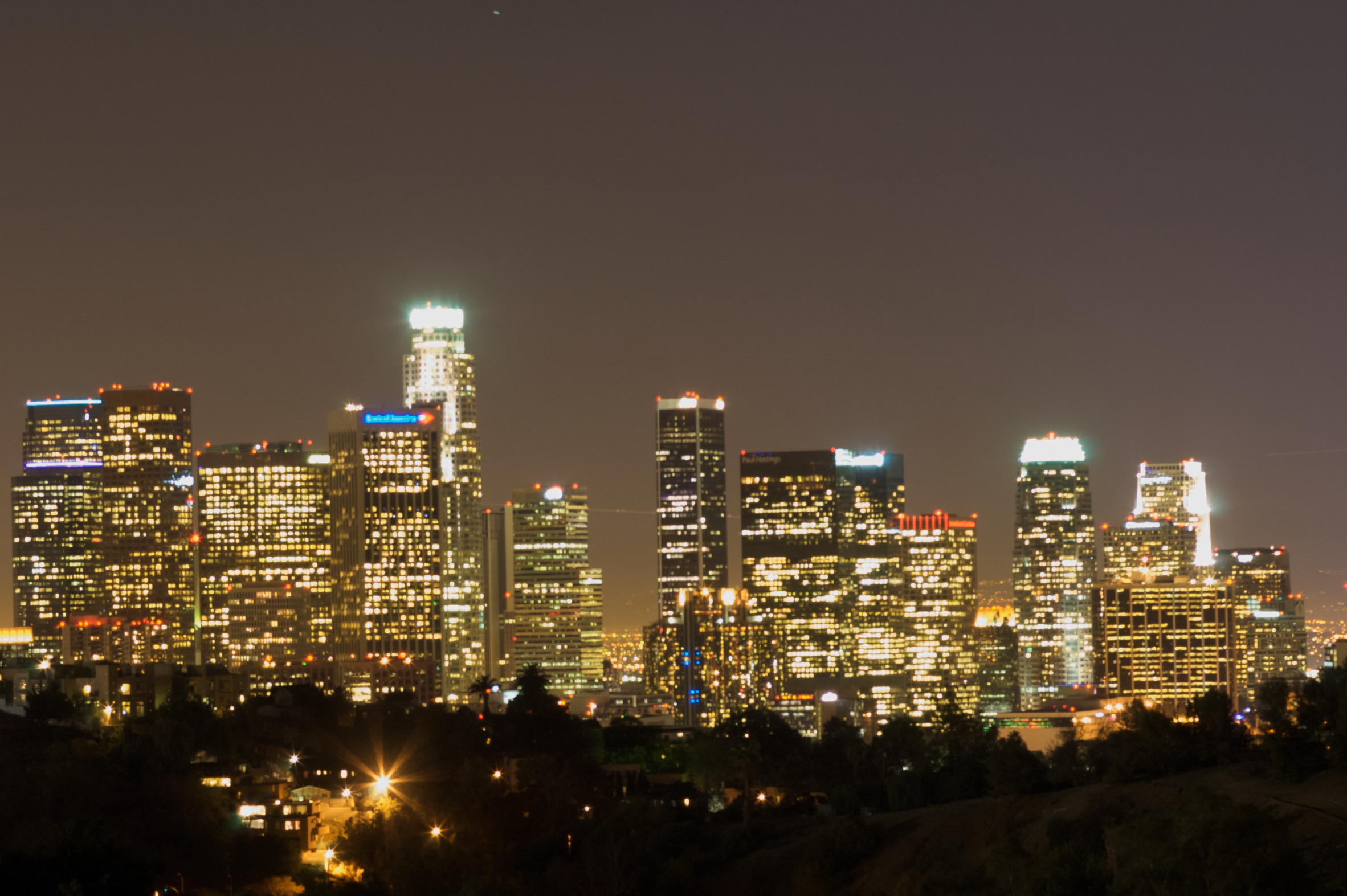 Los Angeles Skyline At Night photos, wallpapers.