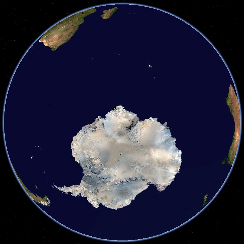 Südpolgebiet mit Teilen von Argentinien , Afrika , Australien und ...