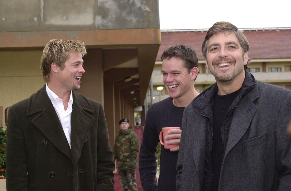 brad pitt george clooney. Die drei Hauptdarsteller Brad Pitt, Matt Damon und George Clooney (v. l.)