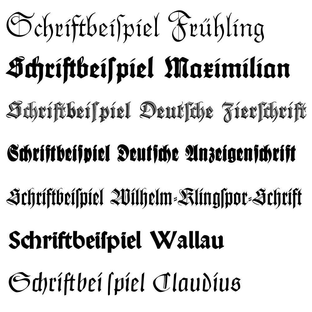 Examples of old german writing alphabet