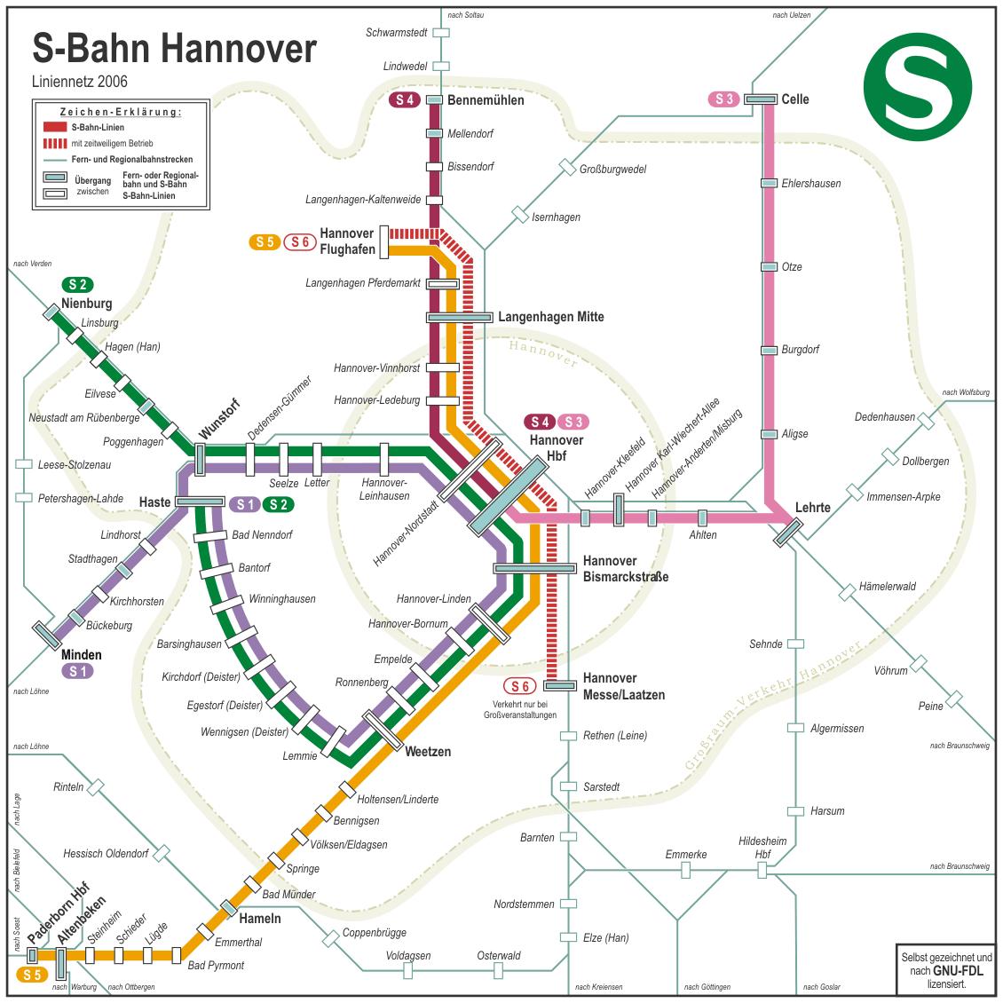схема метро города Ганновер.