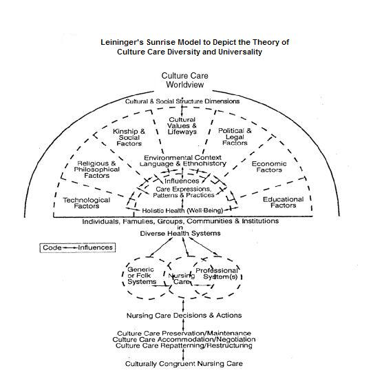 leininger s sunrise model 4 leininger's sunrise model 41 three modes of nursing care decisions and actions the transcultural nursing theory first appeared in leininger's culture care diversity and universality, published in 1991, but it was developed in the 1950s.