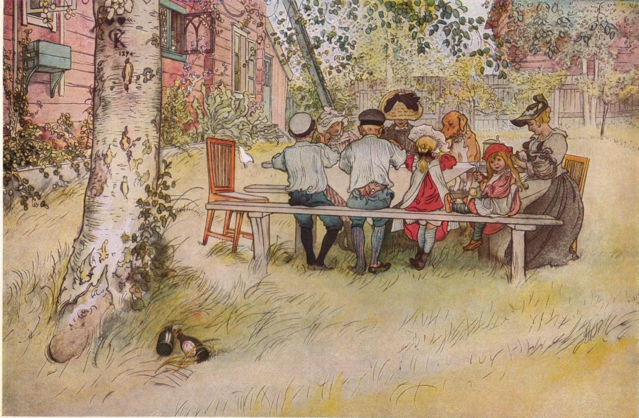 Завтрак под березой, акварель, 1896