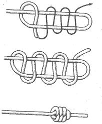 Рис. 7. Многократная восьмерка.  Рис. 6. Устричный узел: а - схема вязки; б - узел-орнамент.
